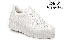 Женские белые кожаные кроссовки на платформе Dino Vittorio