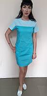 Женское медицинское платье Флора стрейч-коттон короткий рукав