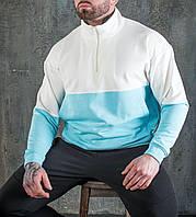 Чоловічий анорак Мельбурн біло-блакитна. Стильна чоловіча кофта Мельбурн білого і блакитного кольору., фото 1