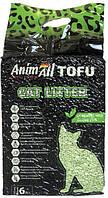 Наполнитель для кошачьего туалета AnimAll Тофу с ароматом зеленого чая Соевый комкующий 2.6 кг (6 л)