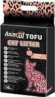 Наповнювач для котячого туалету AnimAll Тофу з ароматом персика Соєвий комкующий 2.6 кг (6 л)