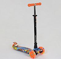 """Самокат """"BEST SCOOTER"""" А 24645 /779-1389 MAXI, пластик, 4 колеса PU, свет, трубка алюминиевая, d=12см"""