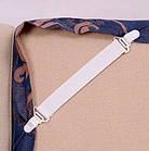 ОПТ Підтяжки для простирадла 4 штуки в упаковці Кліпси затискач універсальні ремені трикутні фіксатори, фото 5
