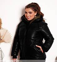 Зимняя женская куртка из черной плащевки 48-50 56-58