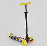 """Самокат """"BEST SCOOTER"""" А 24650 /779-1394 MAXI, пластик, 4 колеса PU, свет, трубка алюминиевая, d=12см"""