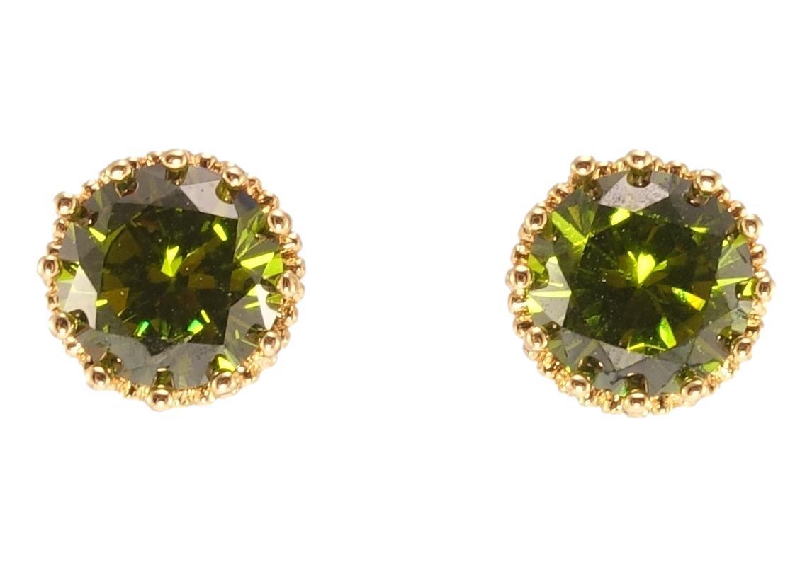 """Серьги XP Позолота 18К гвоздики (пусеты) """"Оливковые кристаллы в оправе корона"""" ø 9мм"""