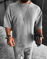 Комплект чоловічий штани+футболка оверсайз сірий Туреччина, фото 3