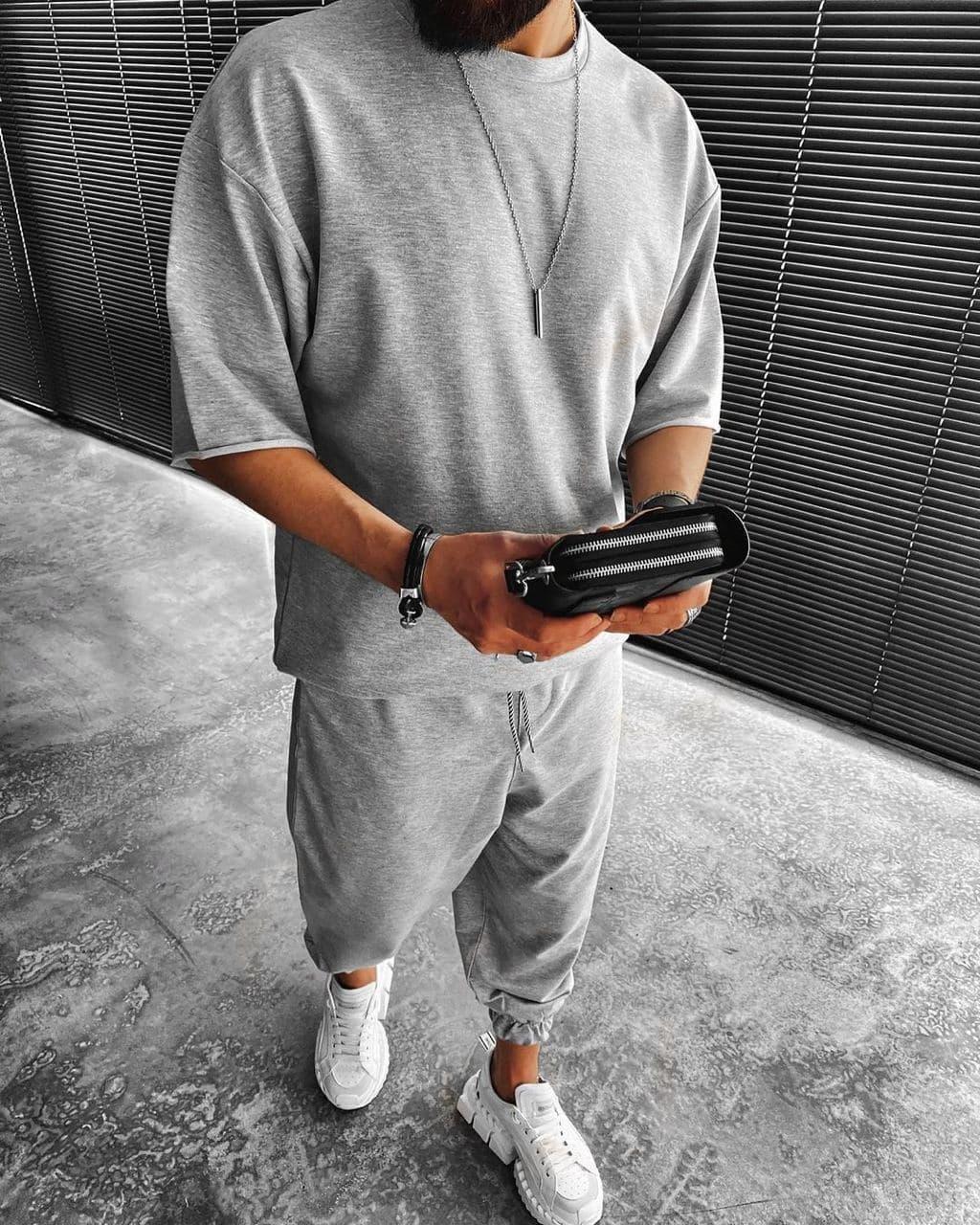 Комплект чоловічий штани+футболка оверсайз сірий Туреччина