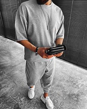 Комплект чоловічий штани+футболка оверсайз сірий Туреччина, фото 2