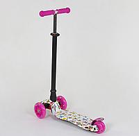 """Самокат """"BEST SCOOTER"""" А 24652 /779-1396 MAXI, пластик, 4 колеса PU, свет, трубка алюминиевая, d=12см"""