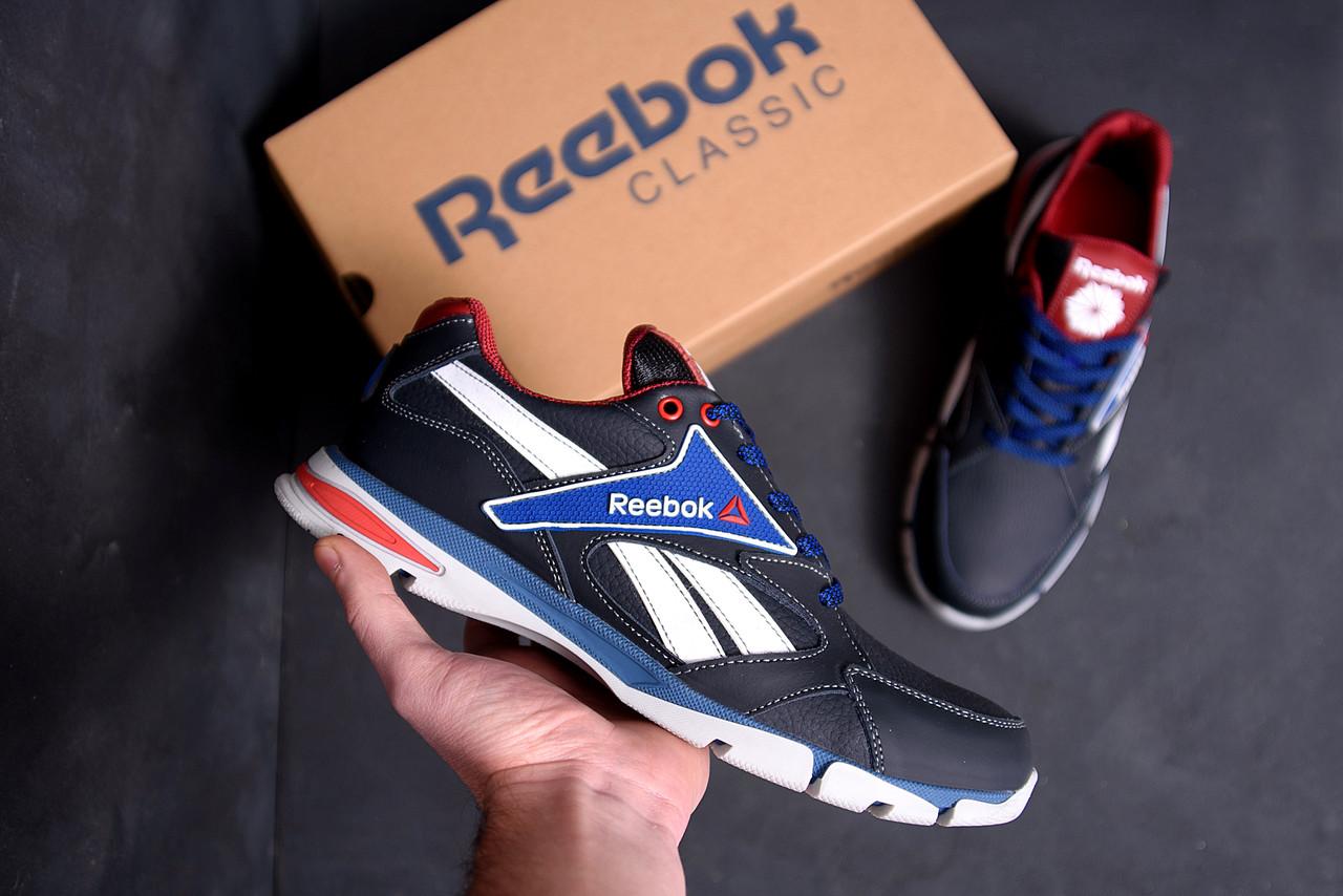 Чоловічі шкіряні кросівки Reebok Street Style Blue (репліка)