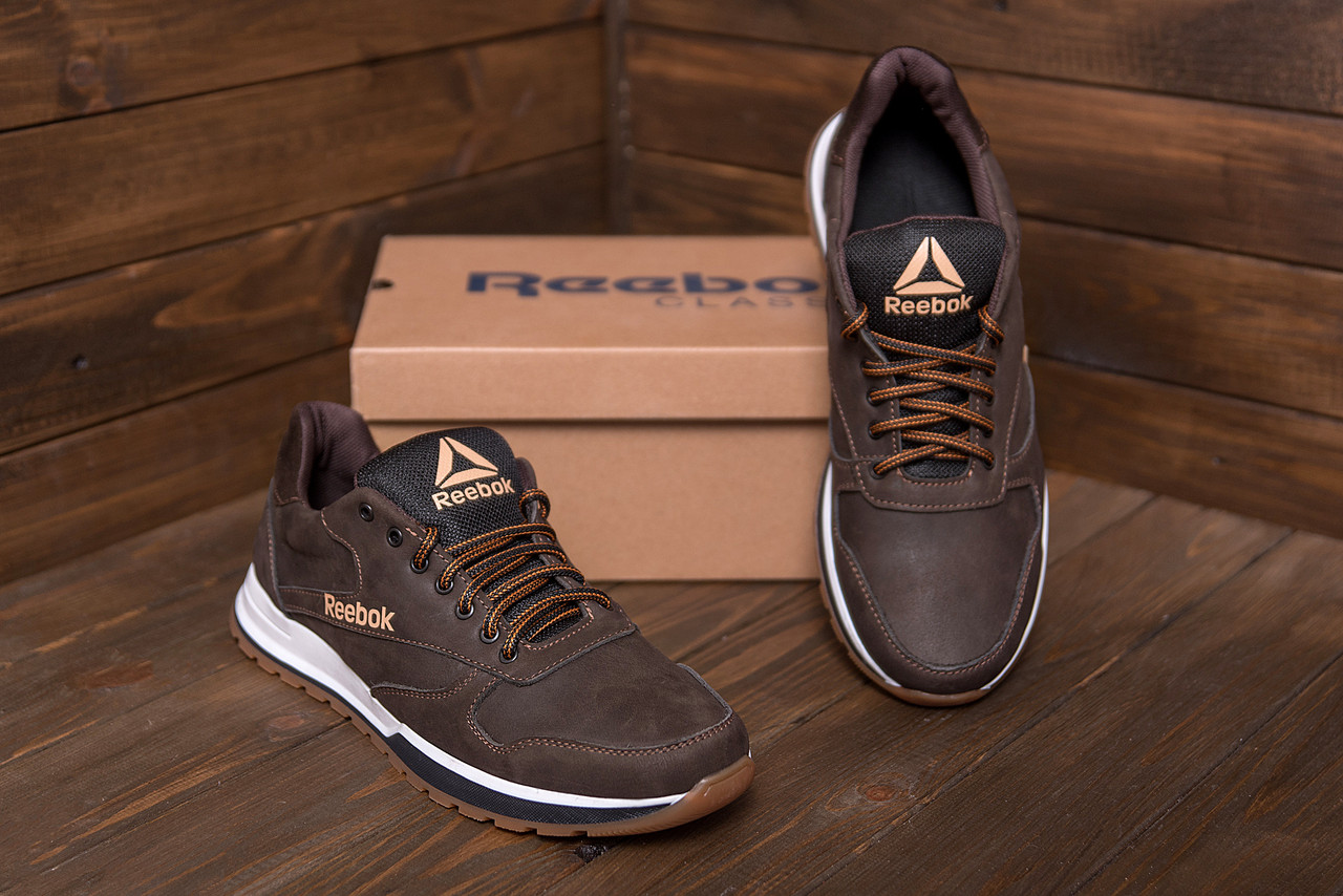 Чоловічі шкіряні кросівки Reebok Classic Leather Trail Chocolate (репліка)