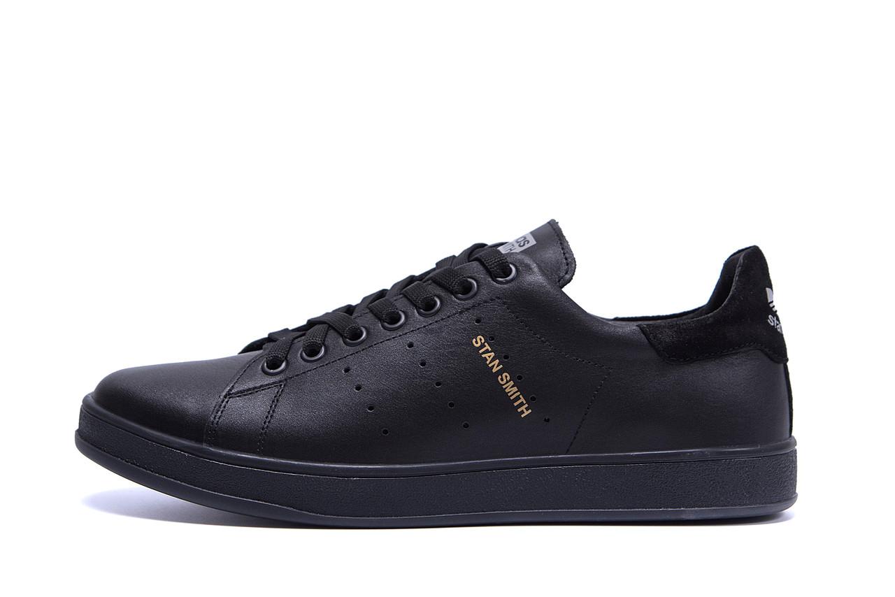Мужские кожаные кеды  Adidas Stan Smith Black RUNNING