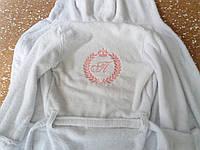 Махровый белый детский халат с вышивкой (ХЛ-03)