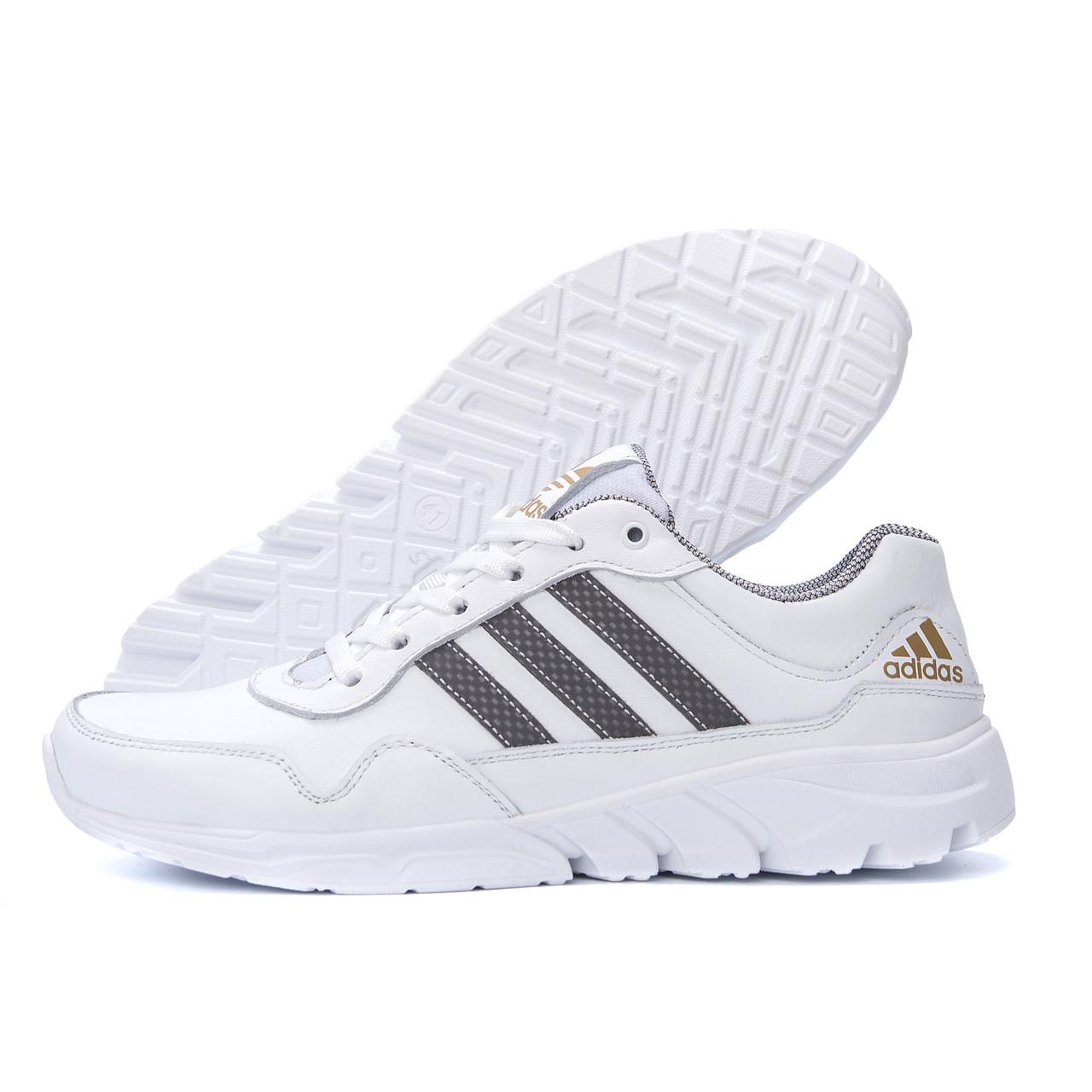 Чоловічі шкіряні кросівки Adidas Tech Flex White (репліка)