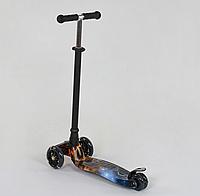 """Самокат """"BEST SCOOTER"""" А 24662 /779-1311 MAXI, пластик, 4 колеса PU, світло, алюмінієва трубка, d=12см"""