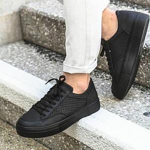 Качественные мужские кроссовки кеды черные с перфорацией Турция, фото 2