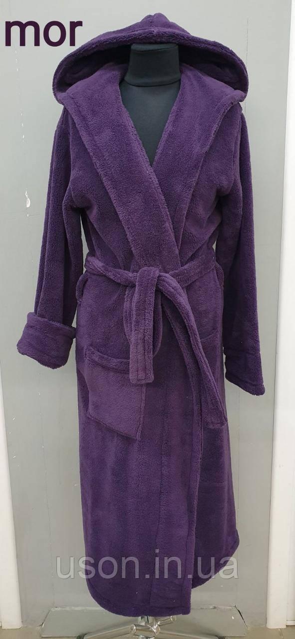 Халат махровий жіночий батальний - 3XL (54) WELSOFT (TM ZERON) Туреччина фіолетовий