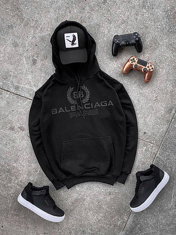 Худи мужской чёрный с надписью стильный с капюшоном, фото 2