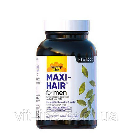 Country Life, Maxi Hair для мужчин, 60 желатиновых капсул, фото 2