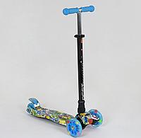 """Самокат """"BEST SCOOTER"""" А 25467 /779-1322 MAXI, пластик, 4 колеса PU, свет, трубка алюминиевая, d=12см"""