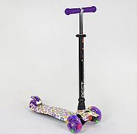 """Самокат """"BEST SCOOTER"""" А 25528 /779-1326 MAXI, пластик, 4 колеса PU, свет, трубка алюминиевая, d=12см"""