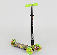 """Самокат """"BEST SCOOTER"""" А 25534 /779-1332 MAXI, пластик, 4 колеса PU, свет, трубка алюминиевая, d=12см"""
