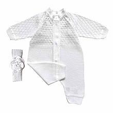 Набор для девочки ажурный молочный человечек + повязка на голову
