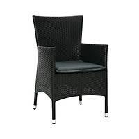 Кресло Каролина чёрный цв., кресло плетеное, кресло из искусственного ротанга
