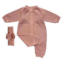 Набор для девочки ажурный розовый человечек + повязка на голову