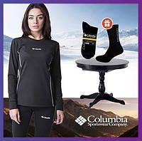 Термобелье женское Columbia зимнее черное, комплект зимнего термобелья для повседневной носки