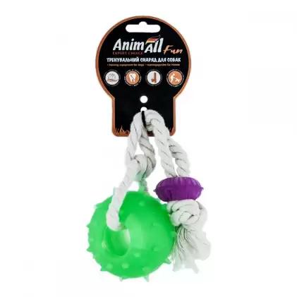 Игрушка AnimAll Fun шар с канатом, зелёный, 8 см