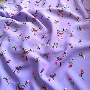Ткань штапель принт мелкие цветочки на сиреневом