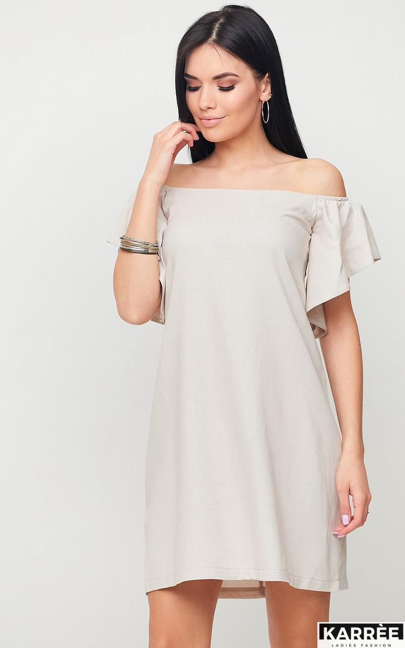 """Міні-плаття Karree """"Каїр"""" А-силует з відкритими плечима (бежевий, р. М,L)"""