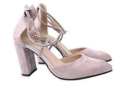 Туфли женские летние на каблуке из еко замши, бежевые Liici