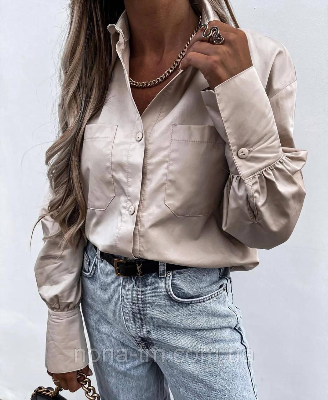 Модная рубашка женская с длинным рукавом