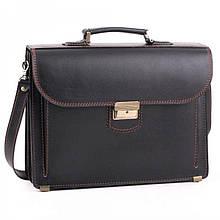 Деловой мужской кожаный портфель ручной работы с плечевым ремнем черный с коричневой нитью