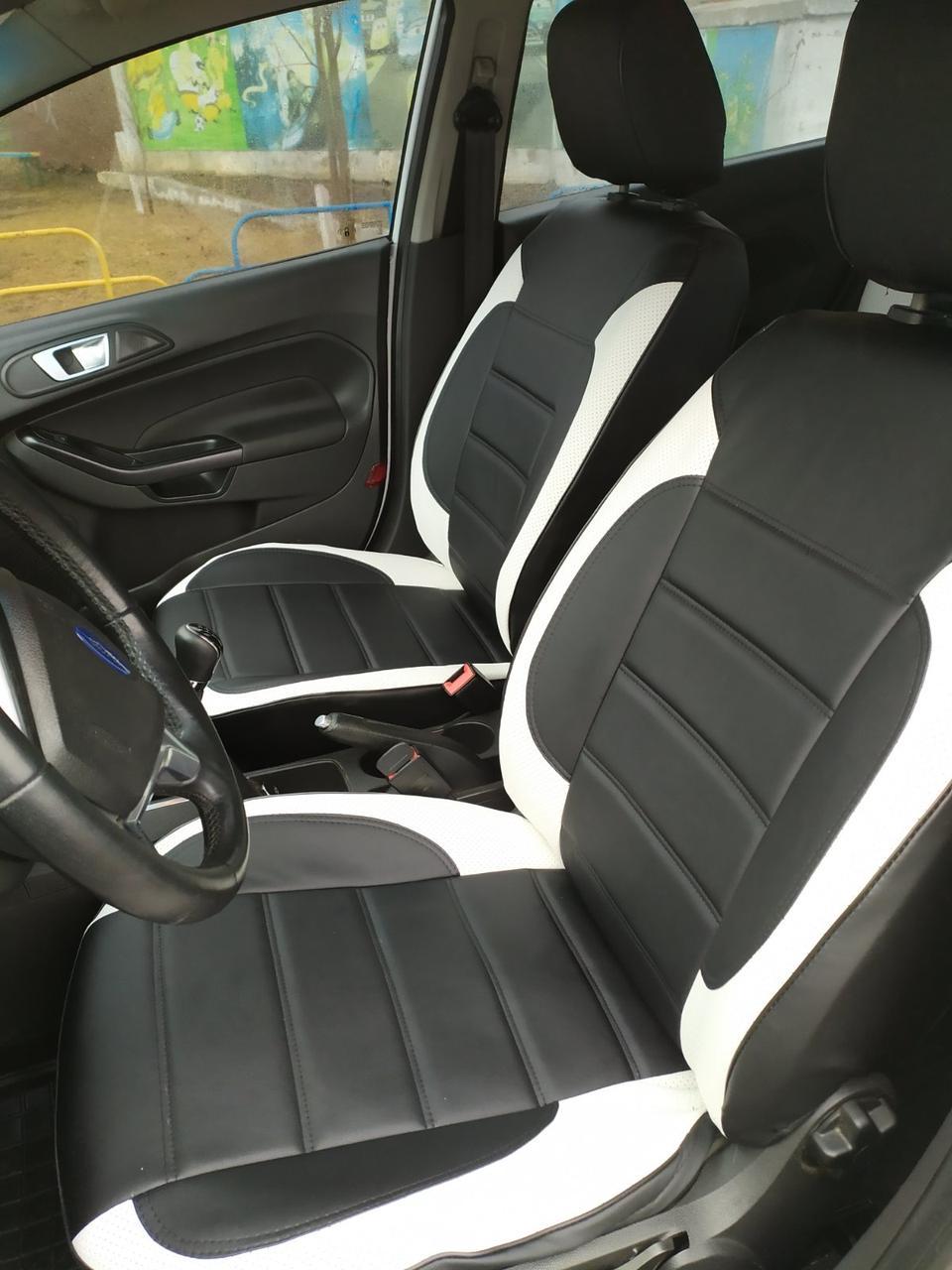 Чехлы на сиденья Джили МК Кросс (Geely MK Cross) модельные MAX-L из экокожи Черно-белый