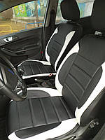 Чехлы на сиденья ДЭУ Матиз (Daewoo Matiz) модельные MAX-L из экокожи Черно-белый