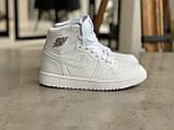 Кросівки жіночі Nike Air Jordan 1 Retro White Найк Аїр Джордан 1 Ретро Білі, фото 5