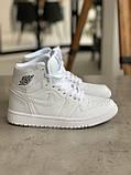 Кросівки жіночі Nike Air Jordan 1 Retro White Найк Аїр Джордан 1 Ретро Білі, фото 7