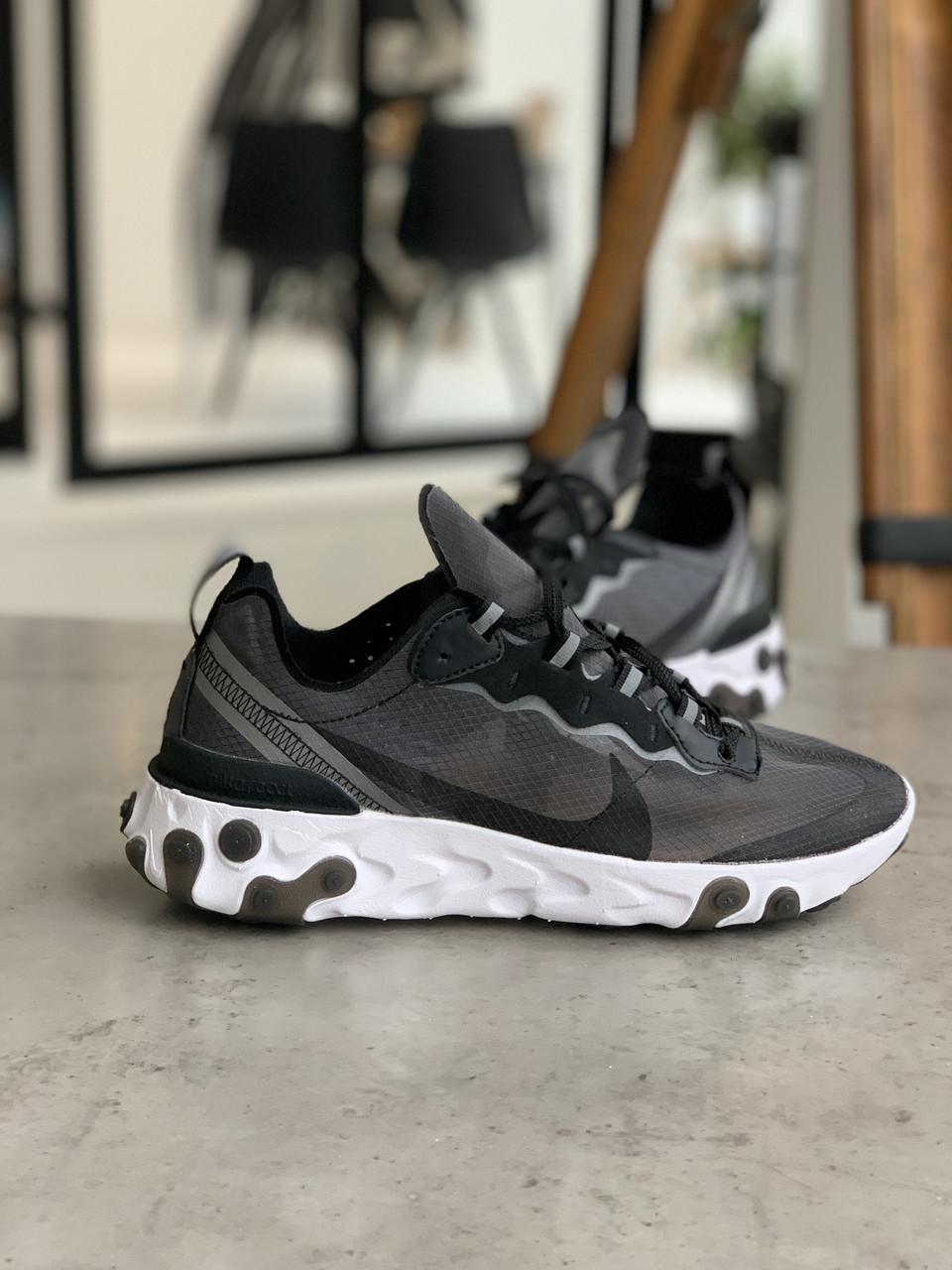 Кросівки чоловічі Nike react element Black White Найк Реактив Елемент чорно-білі