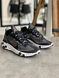 Кросівки чоловічі Nike react element Black White Найк Реактив Елемент чорно-білі, фото 2
