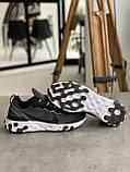Кросівки чоловічі Nike react element Black White Найк Реактив Елемент чорно-білі, фото 3