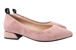 Туфли женские на низком ходу из еко замши, розовые Liici