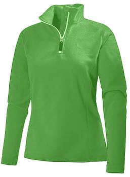 Женская однотонная флисовая кофта цвета зеленый  с воротом на змейке, размер XS