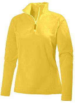 Женская однотонная флисовая кофта цвета желтый с воротом на змейке, размер XS