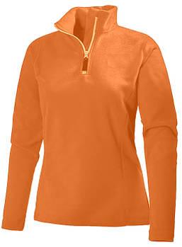 Женская однотонная флисовая кофта цвета оранжевый с воротом на змейке, размер XS