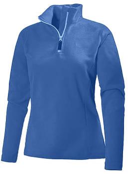 Женская однотонная флисовая кофта цвета синий електрик на молнии, размер XS