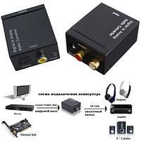 Конвертер цифрового звука с оптики в аналог 2.0, DC-5V, YT-ACWDTA + шнур оптический